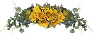 """HiiARug Artificial Sunflower Swag, 30 Inch Decorative Swag with Artificial Sunflowers Lavenders Green Eucalyptus Leaves for Front Door Wedding Arch Party Wall Decor Tabletop (Retro Sunflower, 30"""")"""