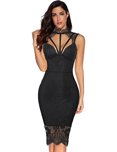 Meilun Womens Rayon Lace Patchwork Sleeveless Bandage Bodycon Club Party Dress