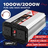 GIANTZ 1000W/2000W Pure Sine Wave Power Inverter 12V-240V Camping Boat Caravan