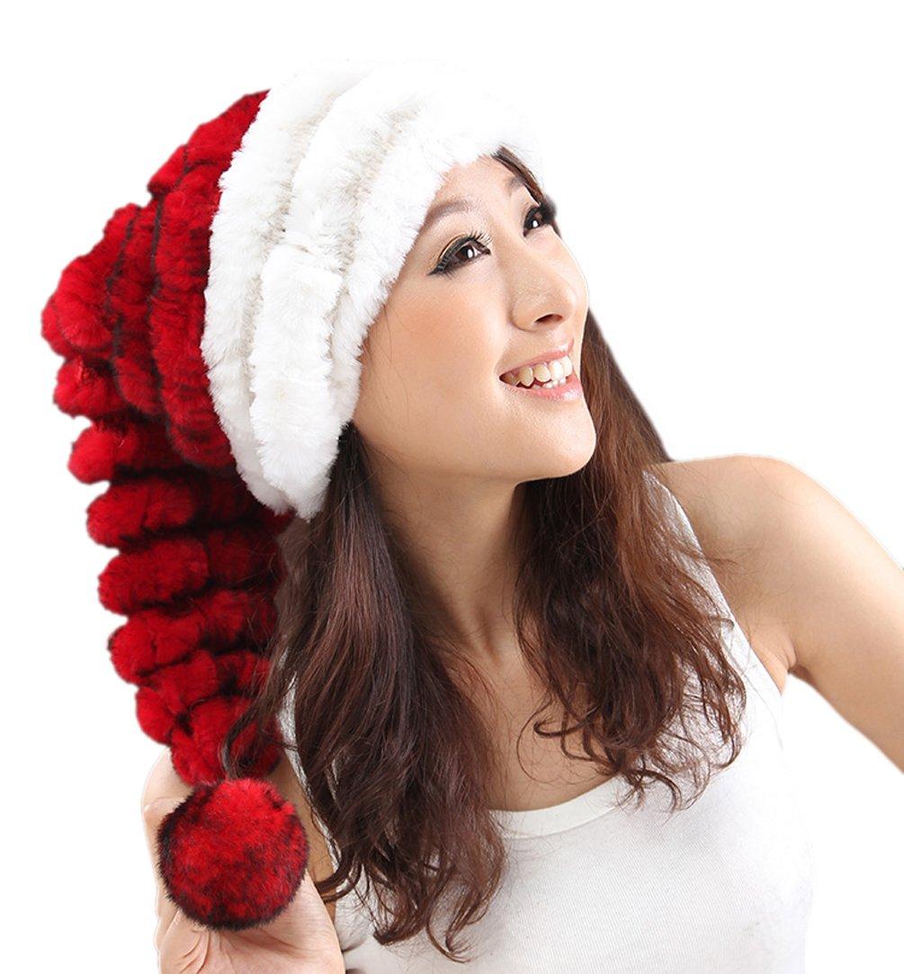 URSFUR Rex Rabbit Fur Christmas Hats Novelty Funny Santa Caps Winter Plush Beanie Pompom Merry Christmas Whiter/Red
