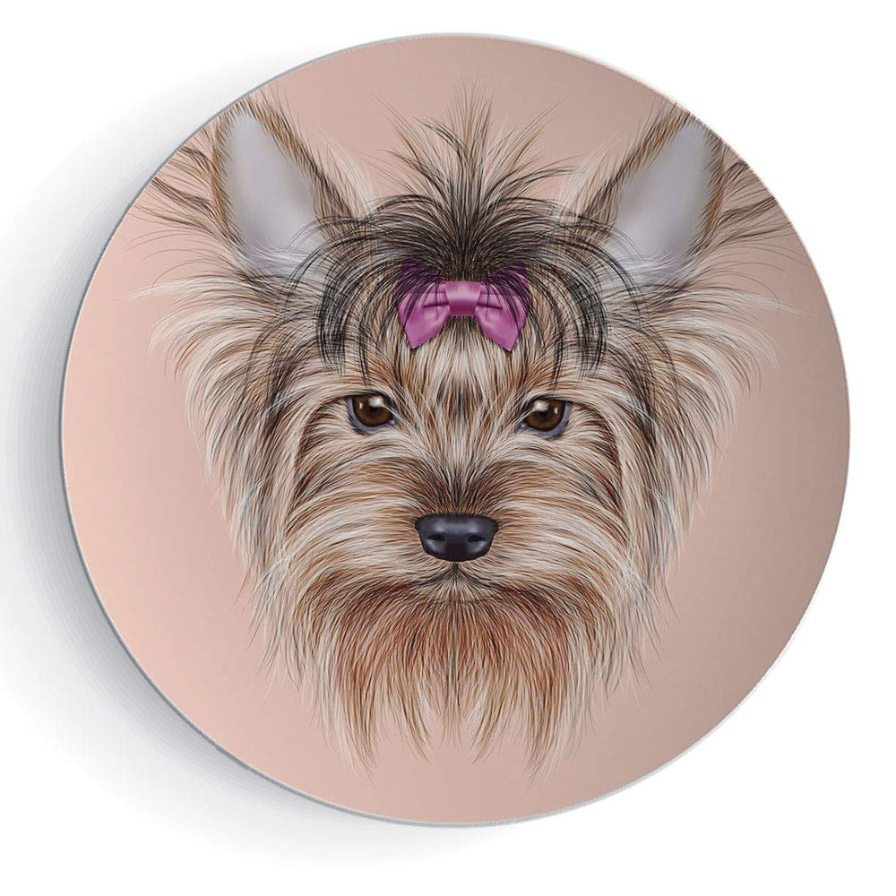 iPrint 8'' Yorkie for Gift Family Realistic Computer Drawn Image of Yorkshire Terrier with Cute Ribbon Animal Decorative