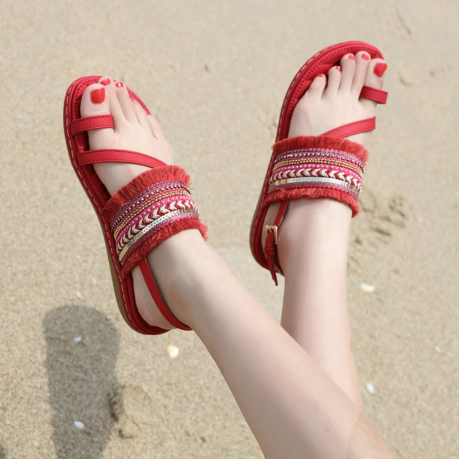 Womens Summer Boho Rhinestone Flat Sandals with Ankle Strap Toe Post Flip Flop Shoes