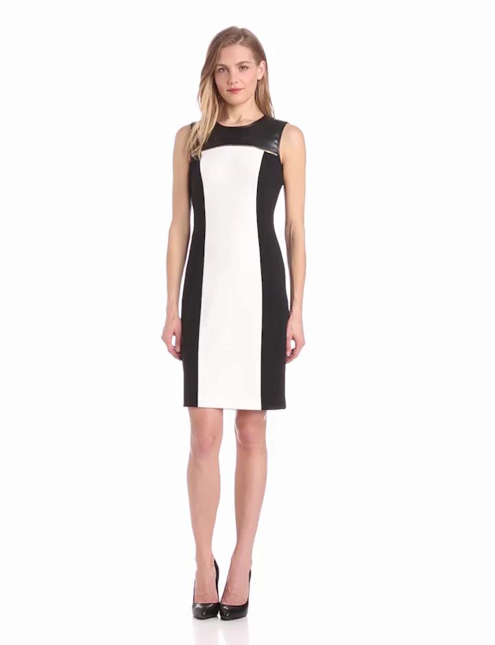 Calvin Klein Womens Colorblock Dress with Zip, Birch, 4
