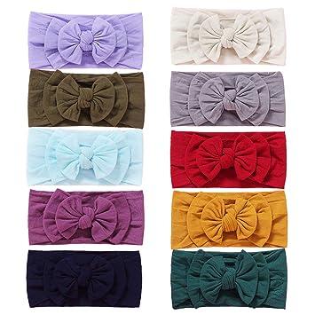 Set of 2 Baby turban headband Purple Baby Bow knot headband Set Flat bow Nylon headband for girls newborn headband