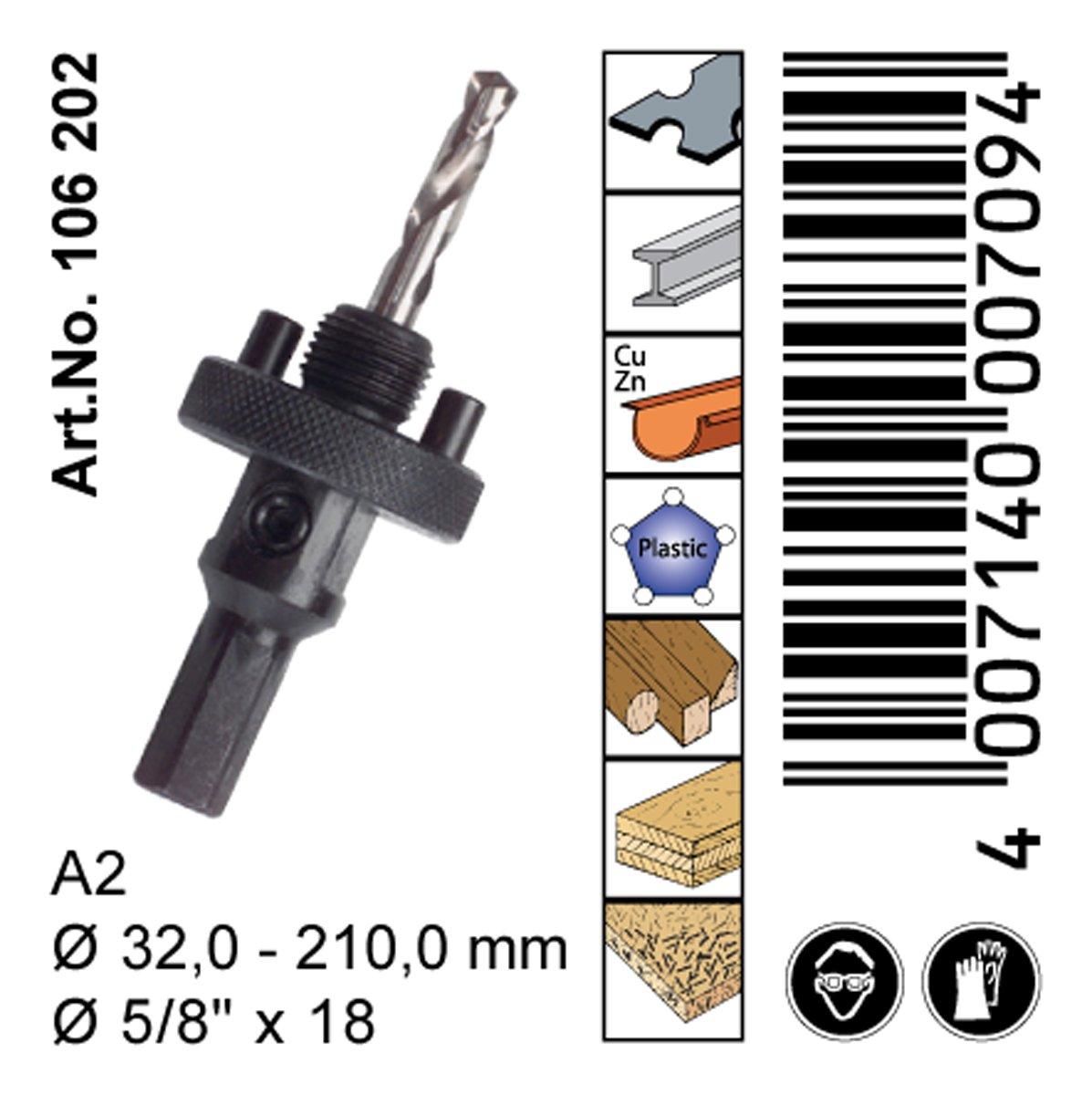 Aufnahmehalter inkl HSS Bohrer A2 = 32-210 mm