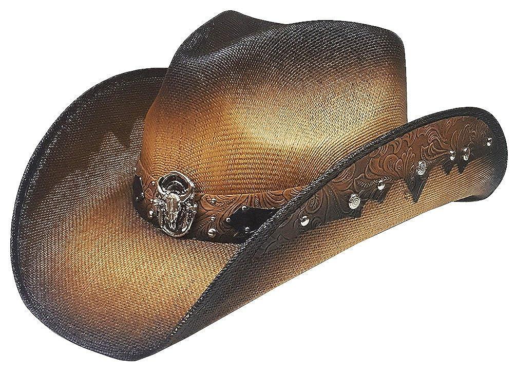 Modestone Unisex Straw Cappello Cowboy Metal Longhorn Bull Head Concho & Studs Brown 8989N3-Size-Medium