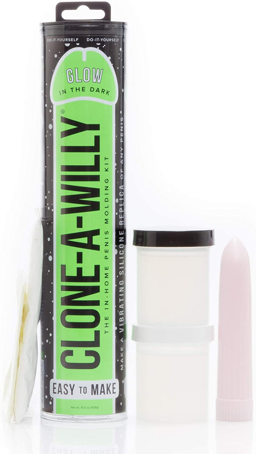 Clone-A-Willy Hot Pink Glow In The Dark latex Molding Gel With Vibe