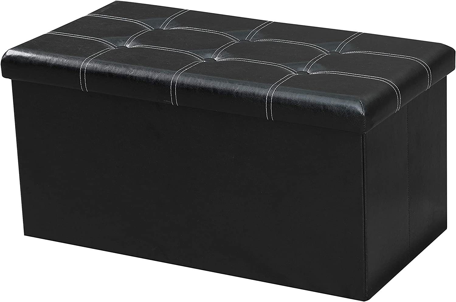 Amazon Com Lokatse Home 30 Inches Folding Storage Ottoman Bench Footrest Seat Chest Coffee Table Toy Box 30 X15 X15 Black Faux Leather Furniture Decor