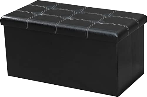 LOKATSE HOME 30 Inches Folding Storage Ottoman Bench Footrest Seat Chest Coffee Table Toy Box