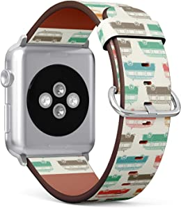 Compatible with Small Apple Watch 38mm & 40mm (Series 5, 4, 3, 2, 1) Leather Watch Wrist Band Strap Bracelet with Stainless Steel Clasp and Adapters (Retro Vintage Travel Camper Van)