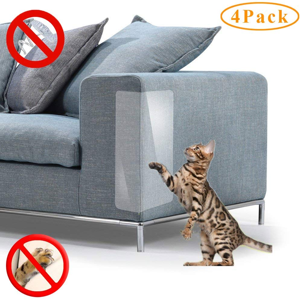 NO PIN, 11.8 * 17.7 INCH Cat Scratch Deterrent Pad Furniture Scratch Guards,4 Packs Premium Flexible Vinyl Cat Couch Protector Guards for Protecting Your Upholstered Furniture