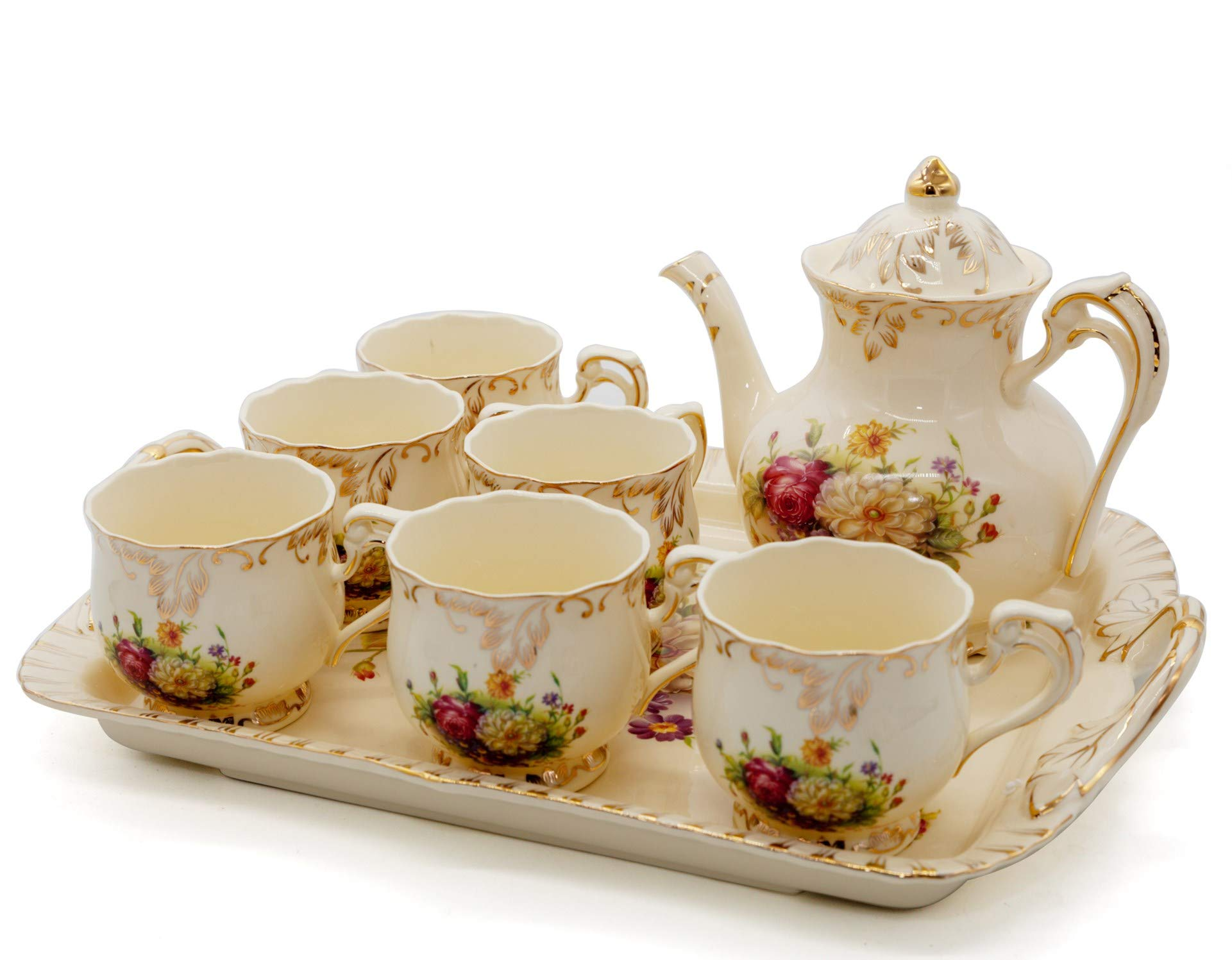 NEWQZ Coffee Set, Tea Set, Teapot Set -8 pcs Includes 6 Cup, 1 Coffee Pot, 1 Tray for Wedding,Party, Evening Dinner