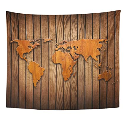 Amazon.com: Emvency Decor Wall Tapestry Brown Carve World ...