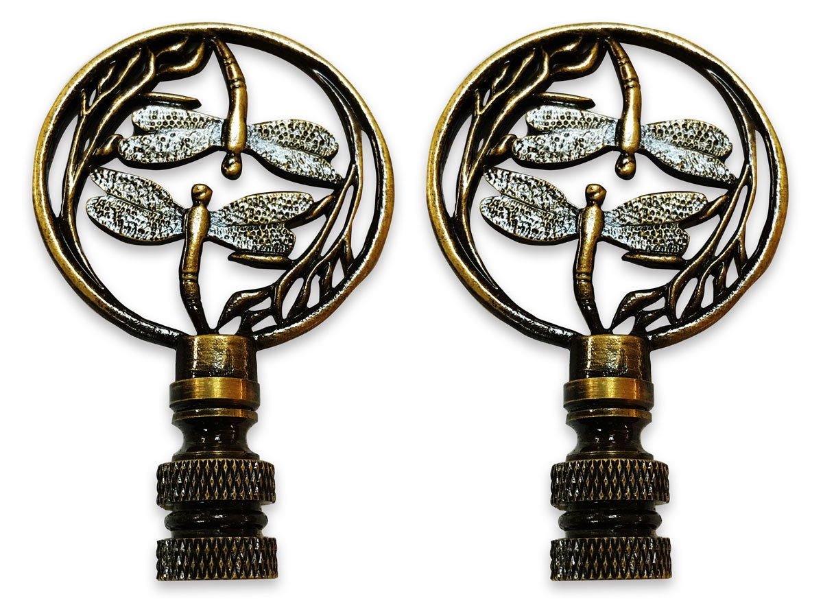 Royal Designs Double Dragon Fly Filigree Lamp Finial for Lamp Shade- Antique Brass Set of 2
