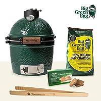 Starterset Mini Big Green Egg Keramikgrill grün klein Keramik Ceramic Smoker Grill-Set Balkon Camping Picknick ✔ Deckel ✔ oval ✔ tragbar ✔ Grillen mit Holzkohle ✔ für den Tisch