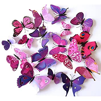 Fly Spray 3d Purple Butterfly Removable Mural Wall Stickers Wall Decal For Home Decor Fba