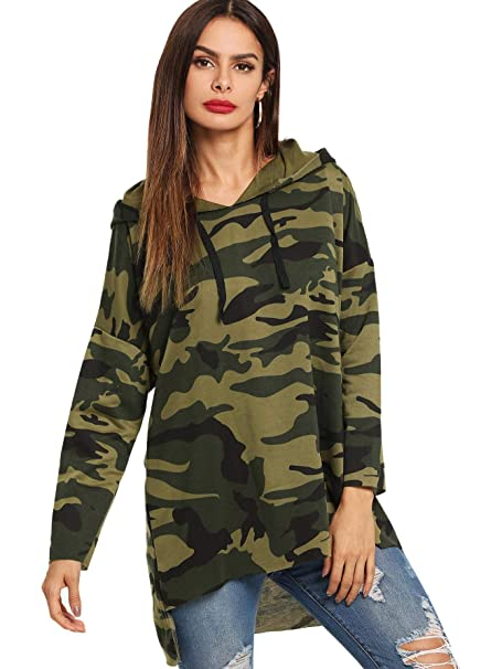 b6fb29588d4167 SheIn Women's Camo Hoodie Drawstring High Low Hem Pullover Long Sweatshirt  Top Medium Multicolor#2