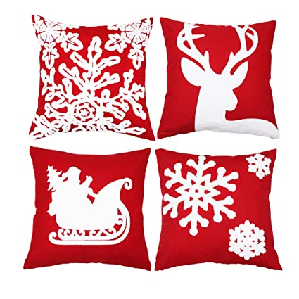 sykting Embroidery Throw Pillow Cases 18x18 Christmas Pillow Covers Set of 4 Cushion Covers Home Car Decorative (Christmas Tree,Reindeer,Sledge,Snow Flakes) best Christmas throw pillows