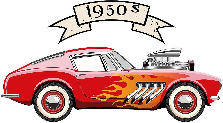 Pegatina de pared Salón USA Cool coche en rojo con llamas y una pancarta America para pegar de artesanía bordadoras motivo automotriz Ruta gafetes Estados Unidos es autos salones apoplejía alcobas s