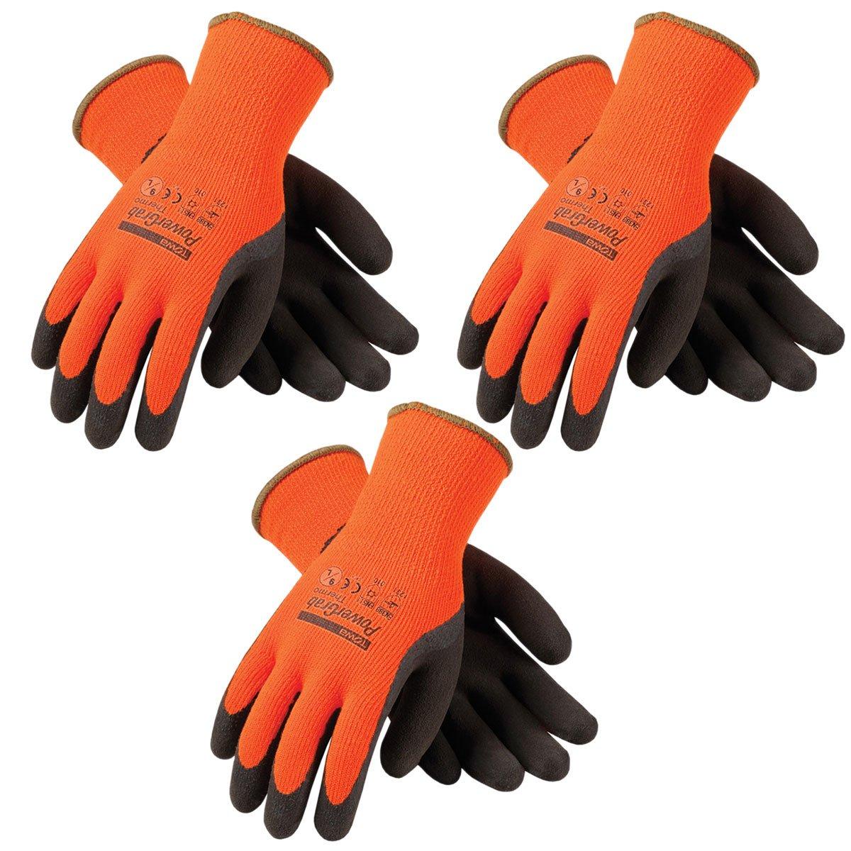 3 Pack Powergrab 41-1400 Thermal Hi-Vis Orange/Black Cold Condition Work Gloves (XX- Large) (3)