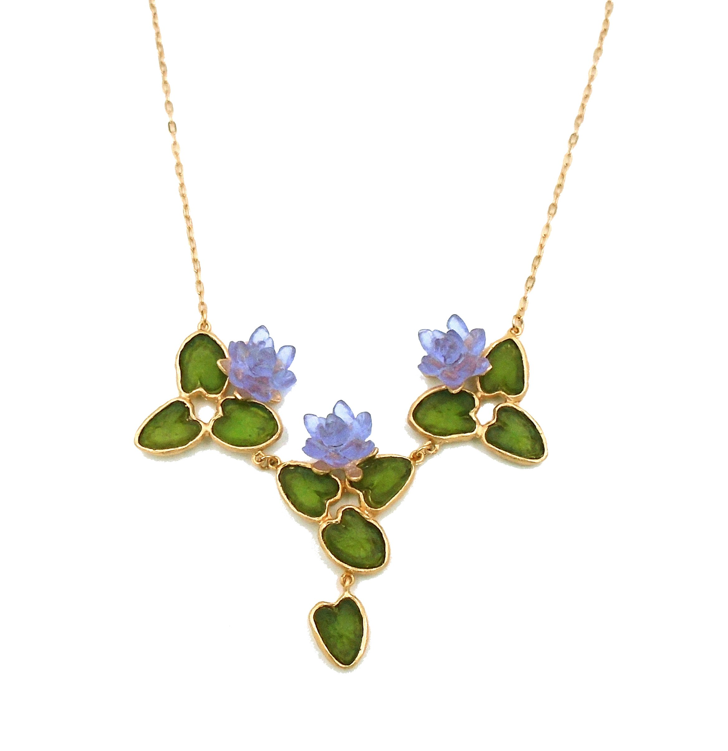 Michael Vincent Michaud- Glass ''Water Lily'' 3 Part Necklace by Michael Vincent Michaud