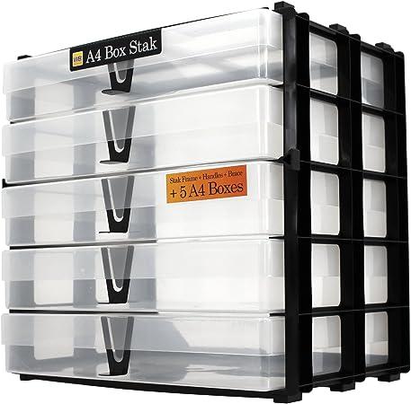 WestonBoxes - Sistema de almacenamiento apilado con sorteos, que incluye 5 cajas A4 - 18 litros de almacenamiento con una pequeña superficie de escritorio (Transparente, Paquete de 1): Amazon.es: Oficina y papelería