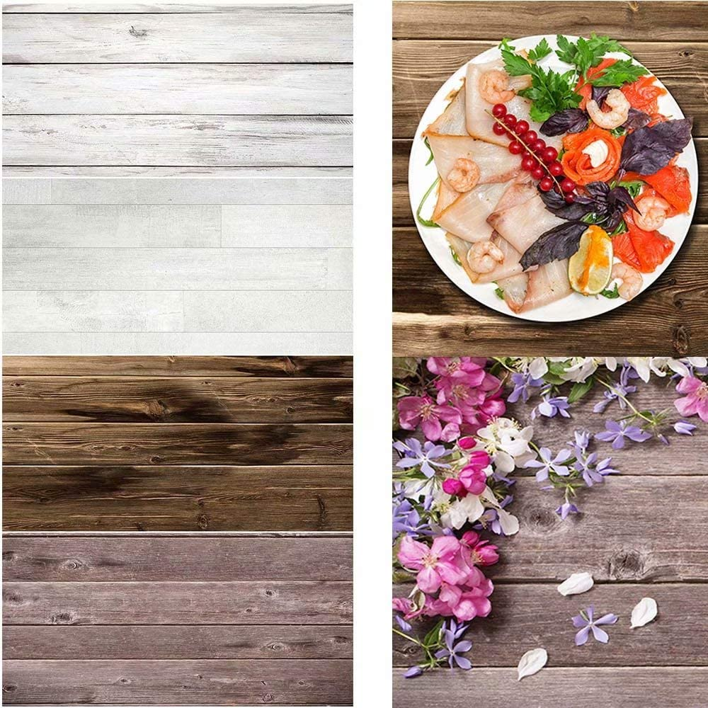 2 Pieces 4 Patterns Photography Surfaces Background Vintage Brown White Wood Background Food Photography Drops Blogger Cosmetic Photoshoot Camera Flatlay Backdrop Ins Tiktok Wood Grainy Textures Board