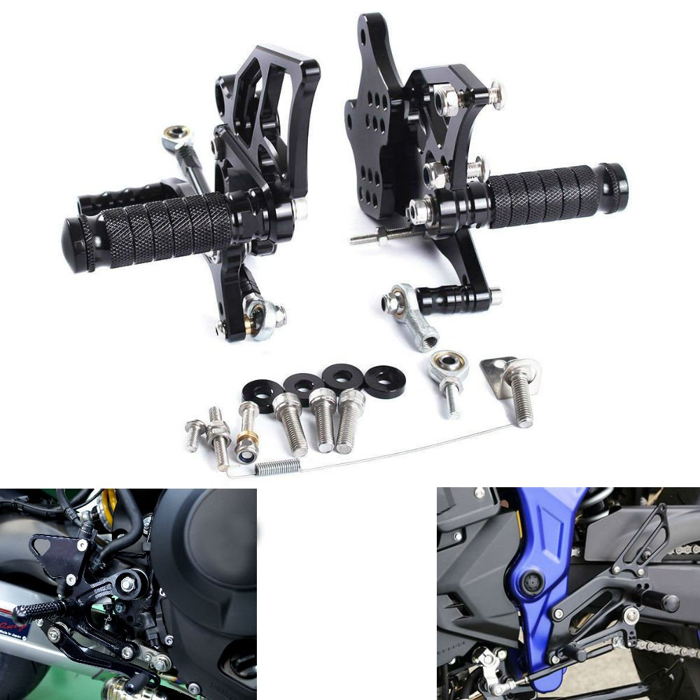 MZS Adjustable Rearsets Footrests CNC for Yamaha YZF R3 R25 2014-2018/ MT-03 MT-25 2015-2018 Black by MZS