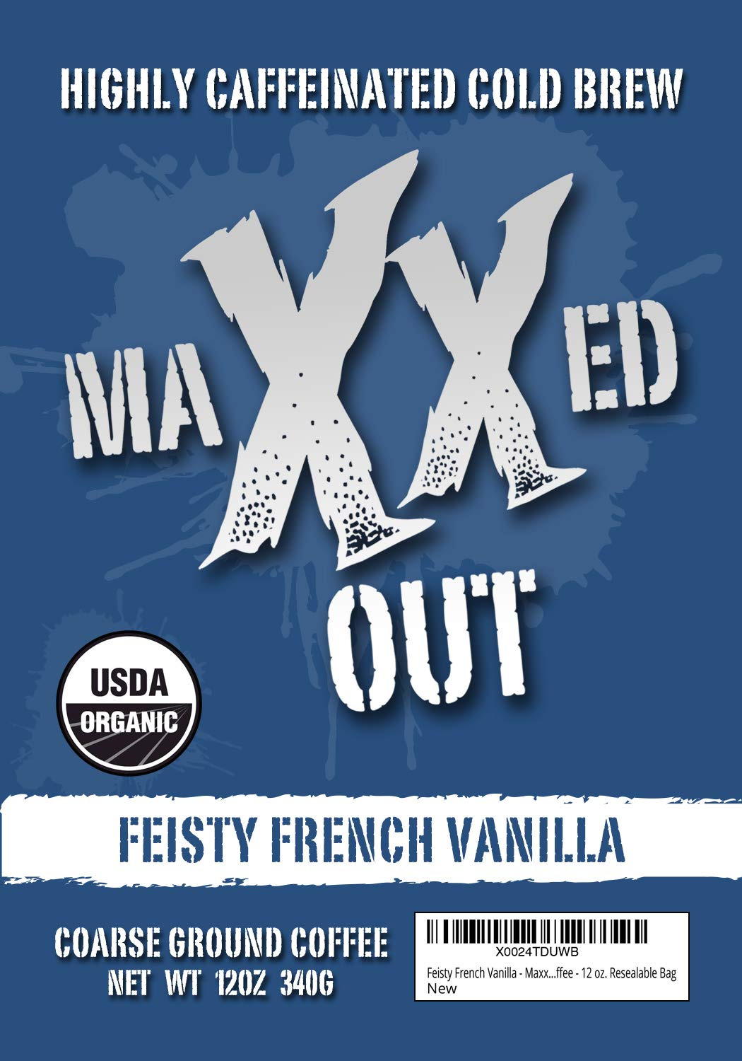Feisty French Vanilla - Cold Brew Coffee - HIGHLY CAFFEINATED - USDA Organic - Coarse Ground - Maxxed Out - 12 oz. Resealable Bag