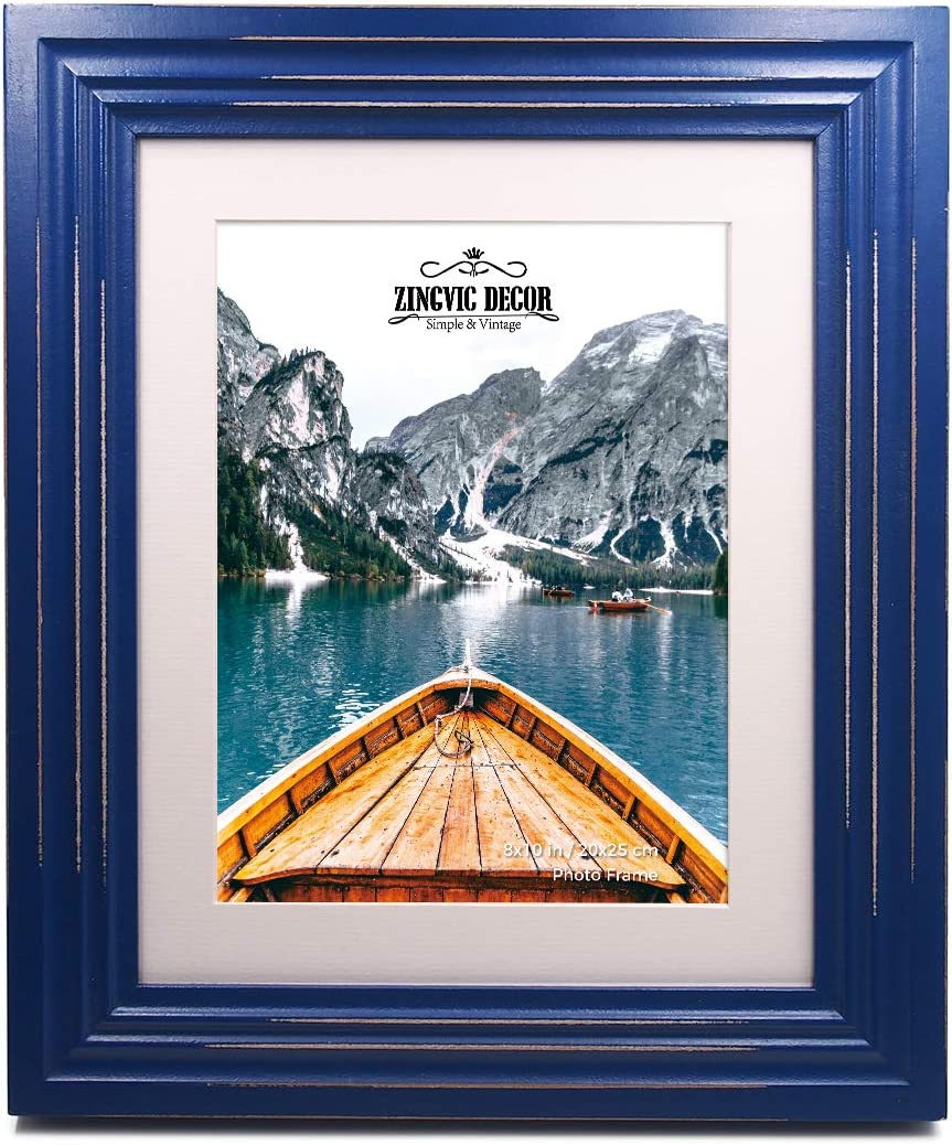 8x10 inch Navy Blue Wood Picture Frame with mat | Display Photo 6x8 inch or 8 by 10 Without Mat | Distressed Design | Wide Molding | Portrait and Landscape View | Stand on Desktop or Wall Hanging