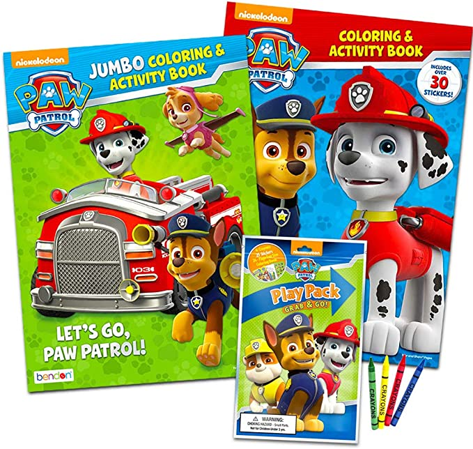 - Amazon.com: Paw Patrol Coloring Book Super Set -- 2 Coloring And Activity  Books, Over 50 Stickers And Mini Crayons: Toys & Games