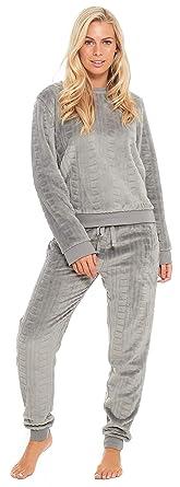super popular e9edc 3c3cc Slumber Hut® Damen Fleece Pyjama Luxus Vlies Damen Grau Geprägte Muster PJs  Loungewear Frauen Schlafanzug - Größe EUR 36 bis 50