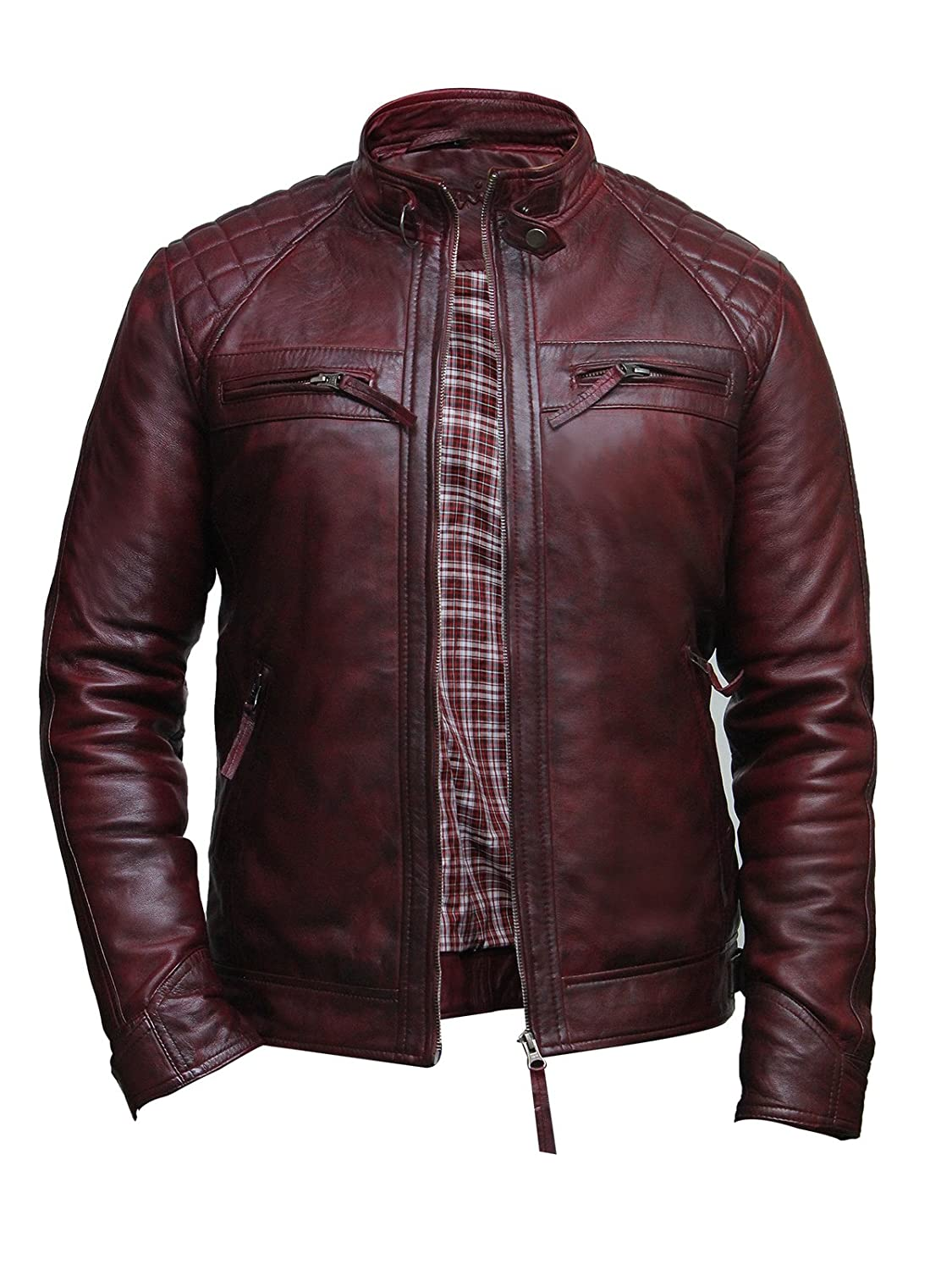 Brandslock Mens Leather Biker Jacket Genuine Lamb Skin Casual Burgundy