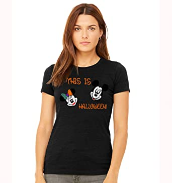 Amazon Com Disney Halloween Mickey Mouse And Minnie Mouse Womens T