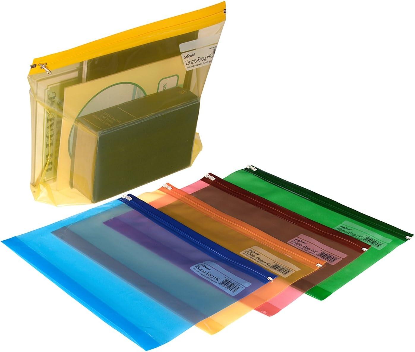 Snopake Zippa Bag - Bolsa con cierre por cursor (5 unidades, A4+, 370 x 260 mm), diseño transparente, multicolor