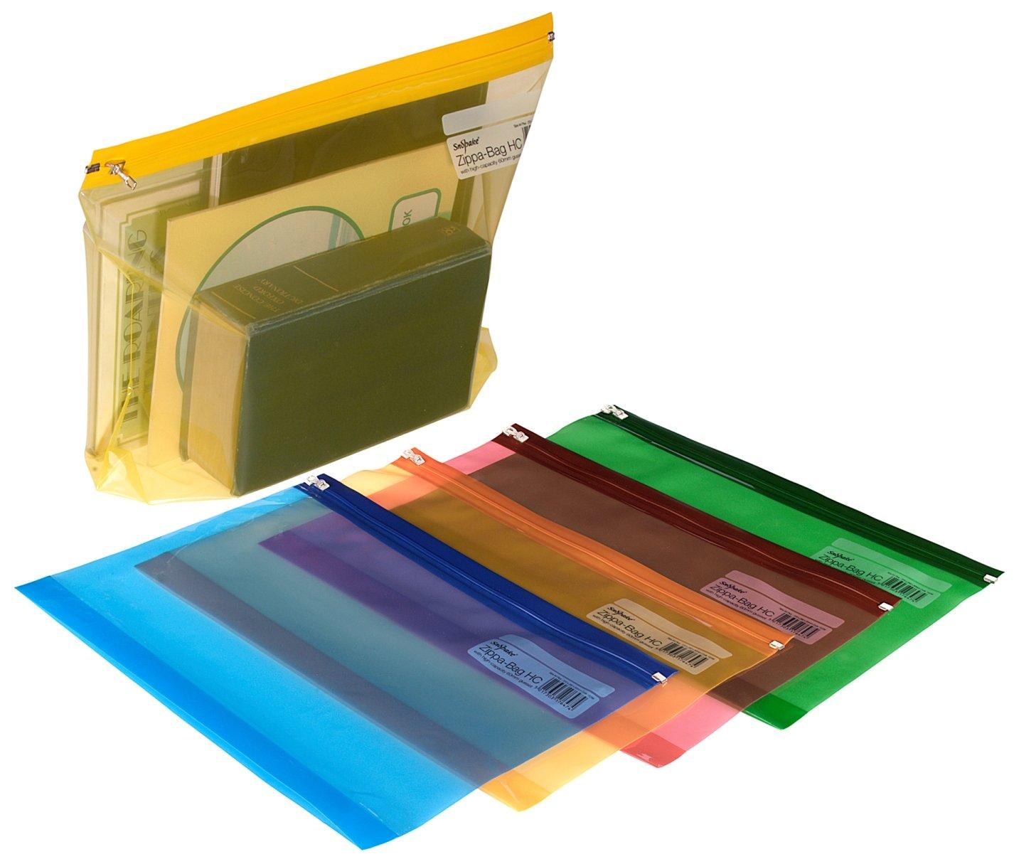 Snopake Electra Zippa Bag - Busta richiudibile con zip, formato A4+, 5 pezzi, trasparente, colori assortiti Snopake Ltd 15299
