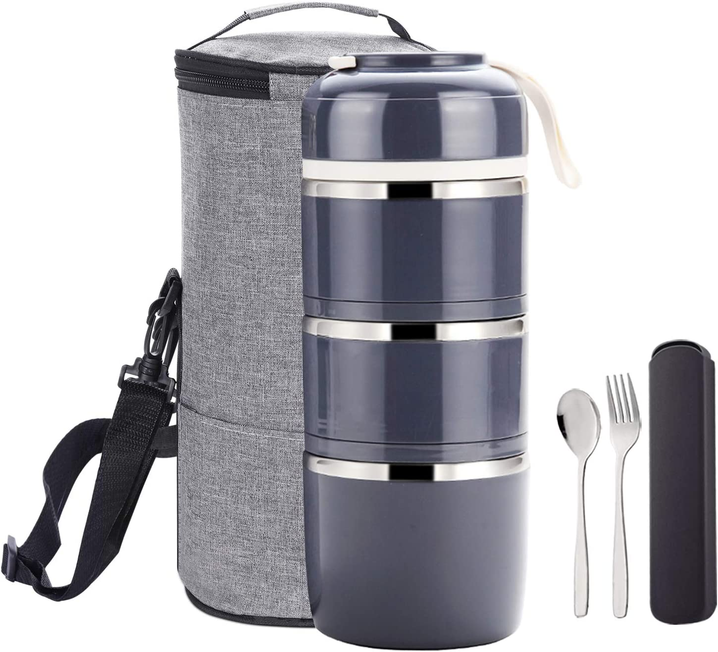 YBOBK HOME Bento Stackable Lunch Box Stainless Steel Thermal Compartment Multi-layered Leakproof Lunch Containers Insulated Bento Box Tower with Lunch Bag and Utensil Set for Adult and Kids (Gray)