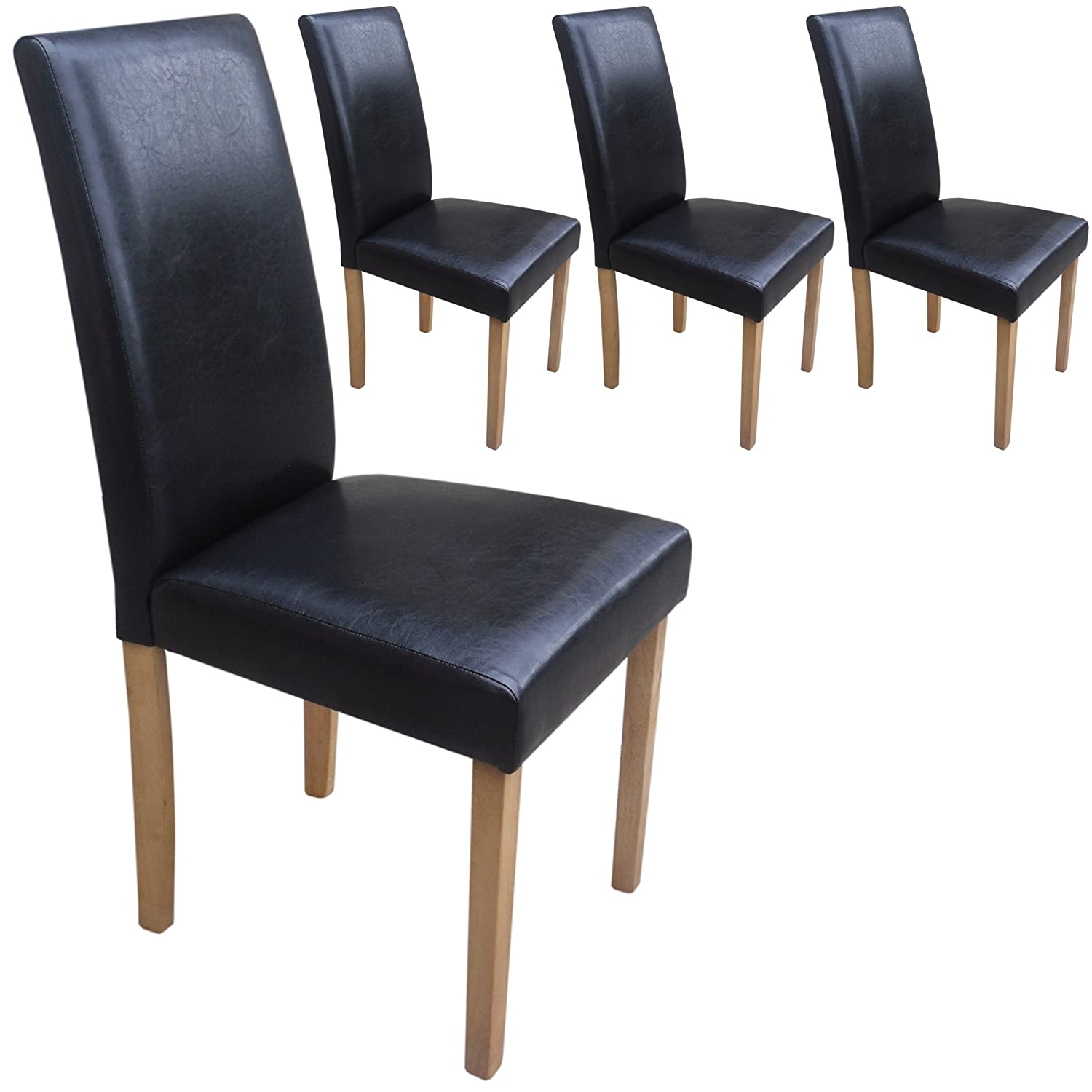 Set of 4 Faux Leather Dining Chairs Black With Padded Seat & Oak