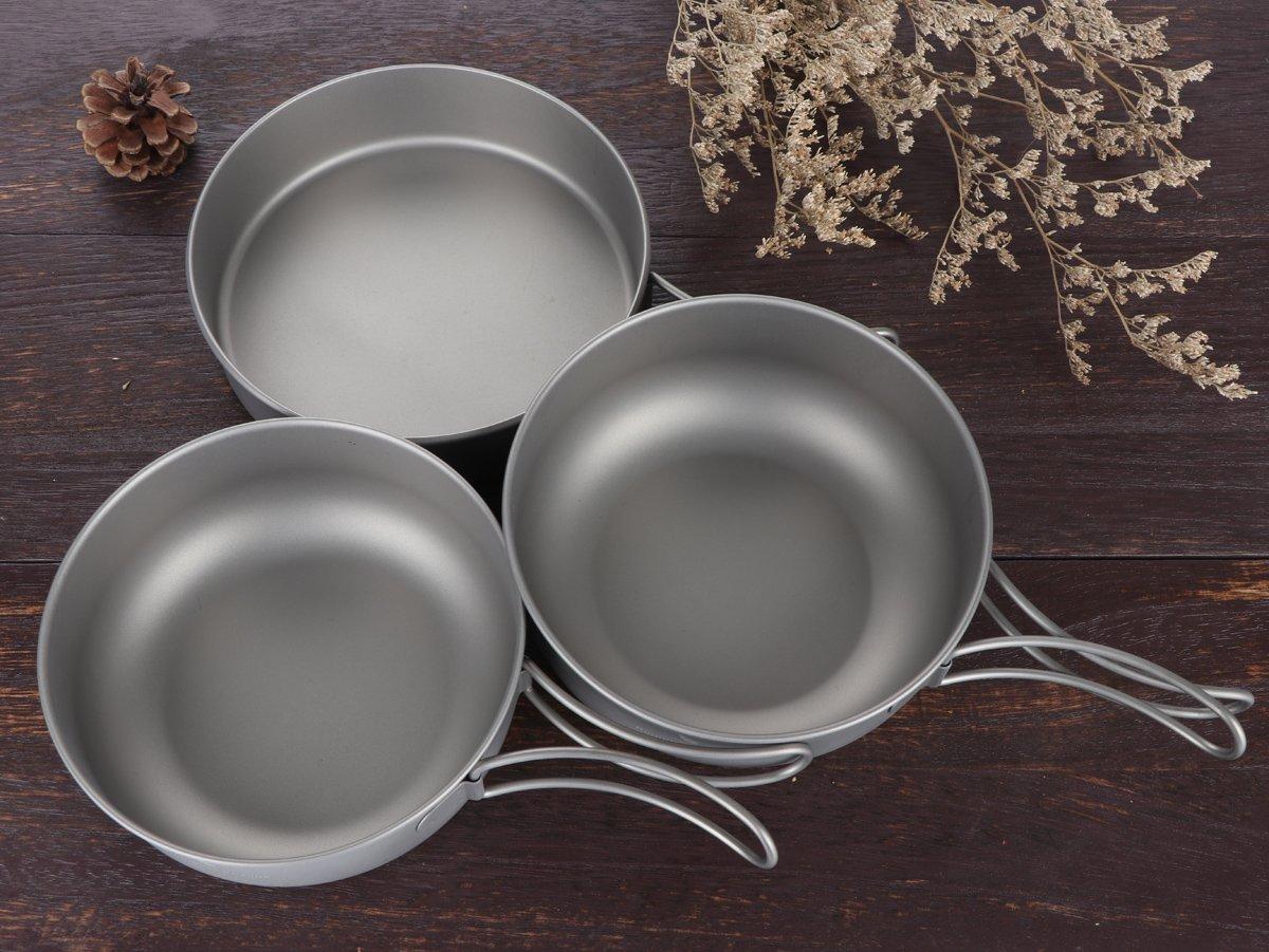 iBasingo 3-Piece Set Titanium Bowl Set Outdoor Camping Pan Cookware Pot with Folding-handl Picnic Dishes Cooking Travel Utensils