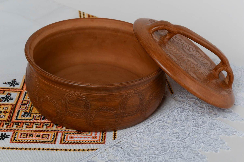 Handmade Designer Terracotta Clay Frying Pan For Bread Baking 3 L