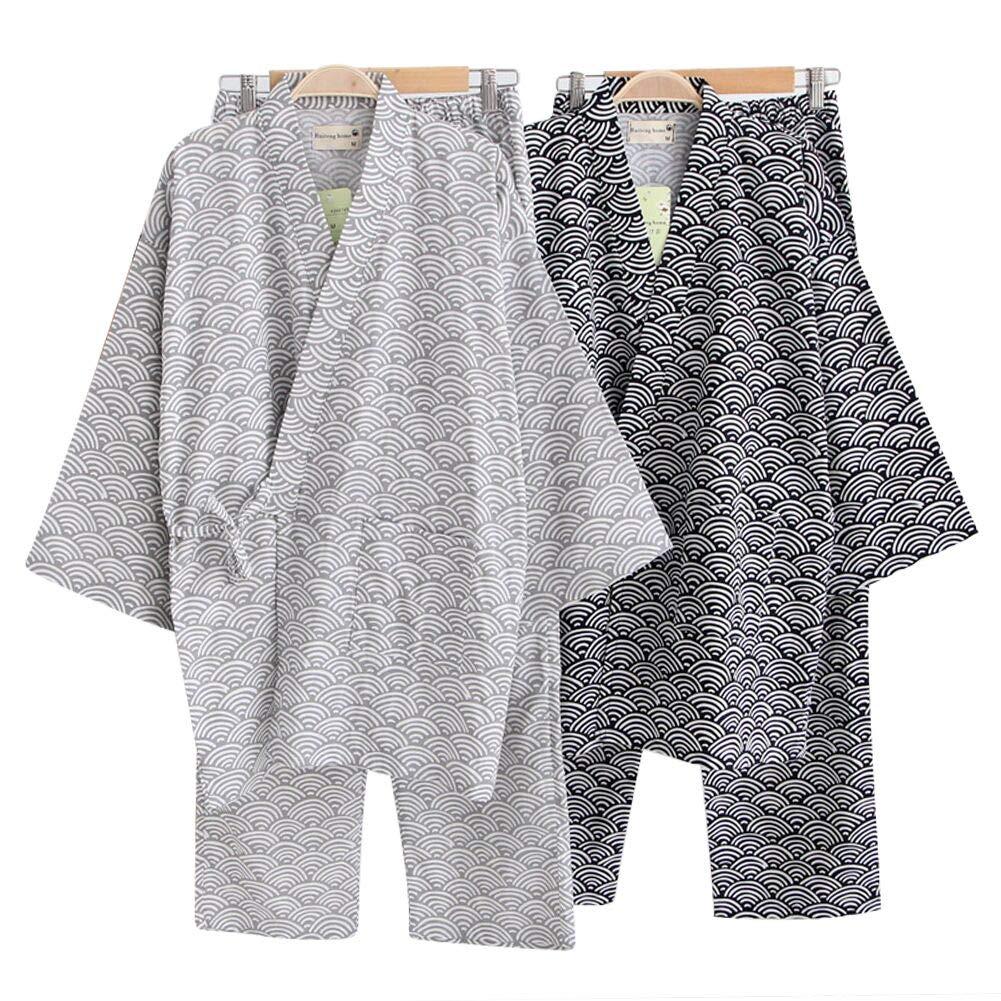 Cotton Kimono Robe Wrap Women Men Bathrobe Dressing Gown Pajamas Yukata Nightdress Loose Comfy Sleepwear Bath Wrap Spa Swim Cover up Home Casual Wear with Pocket Waist Belt