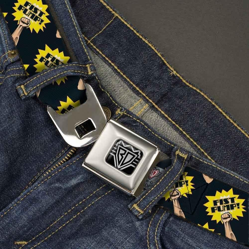 1.5 Wide Fist Pump Black//Yellow Buckle-Down Seatbelt Belt 24-38 Inches in Length