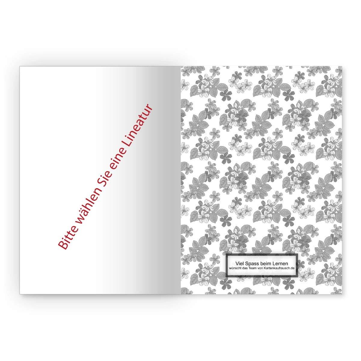 blanko Heft 16 Blatt//32 Seiten 1 elegantes Vintage DIN A4 Schulheft Notizheft Schreibhefte mit klassischen Retro Streublumen Kladde f/ür Schule hellblau Lineatur 20 B/üro Uni
