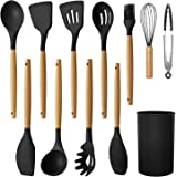 MegiKio Silicone Kitchen Utensils Cooking Set-11PCS Kitchen Utensils Set with Wooden Handles-Include Turner Tongs…