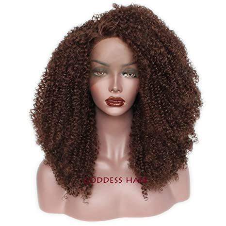 Amazon.com : Goddess Afro Kinky Curly Synthetic Lace Front Wigs Fashion Natural Curly Wigs For Black Women 180 Density (18inch) : Beauty