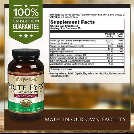 Amazon.com: Lifetime® Brite Eyes™ Antioxidant Formula | Supports Dry Eyes, Vision & Eye Health | with Lutein, Zeaxanthin, Bilberry, Vitamin A & C | 60 ...