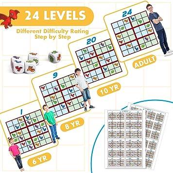 VATOS Dinosaur Sudoku Puzzle Juego de Mesa Juguetes educativos para niños de 6 7 8 9 10 11 12 años, Diversión Dinosaur Sudoku Juego de lógica y Rompecabezas para niños y Adultos: Amazon.es: Juguetes y juegos