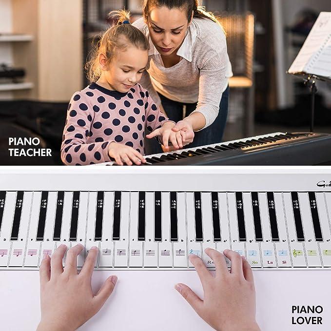 Hiverst definitiva del teclado de piano conjunto de aprendizaje ayuda - 1: 1 escala de 88 teclas práctica de cartón piano nota carta de la guía, ...