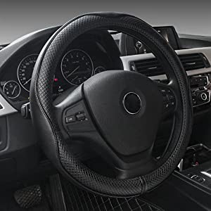 yunanwa Universal 15 Inch Car Steering Wheel Cover Protector Genuine Leather Heavy Duty Durable Sporty Wave Pattern (All Black)