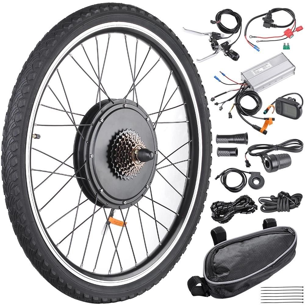 48V1000W 26'' Rear Wheel Electric Bicycle LCD Display Motor Kit E-Bike Conversion With Ebook